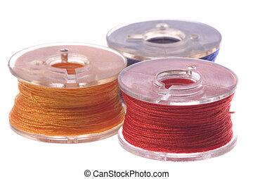 kleurrijke, spoelen, vrijstaand, draad, macro