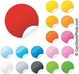 kleurrijke, sticker, postit, set