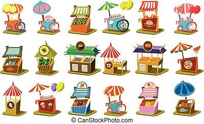 kleurrijke, straat, kar, winkel, set, detailhandel, kiosk, op wielen, vector, illustraties, op, een, witte achtergrond