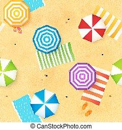 kleurrijke, strand, paraplu's, en, handdoeken, op, de, zand,...