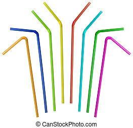 kleurrijke, stro, verzameling, vrijstaand, op wit