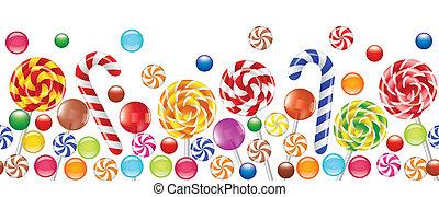 kleurrijke, suikergoed, fruit, bonbon, lollipop