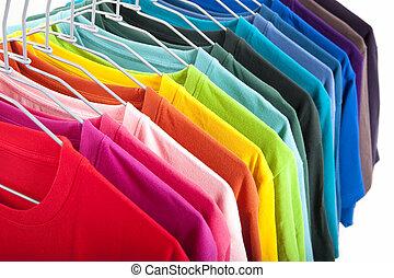 kleurrijke, t-shirt, vrijstaand, op wit, achtergrond