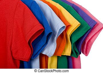 kleurrijke, t-shirts, op wit
