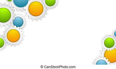 kleurrijke, technologie, toestellen, mechanisme, video, animatie