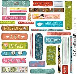 kleurrijke, tekening, verzameling, boekjes , bibliotheek