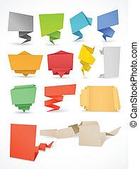 kleurrijke, tekst, set., hier, polygonal, plek, origami,...