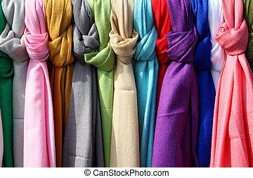 kleurrijke, textielproducten