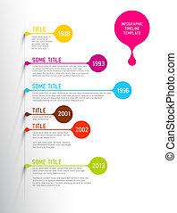 kleurrijke, tijdsverloop, infographic, mal, rapport, bellen