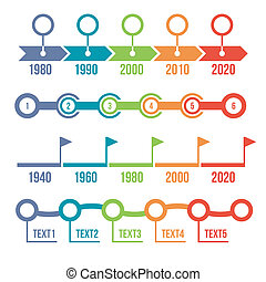 kleurrijke, tijdsverloop, infographic, set