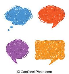 kleurrijke, toespraak, bellen, gedachte, hand, getrokken