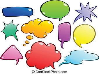 kleurrijke, toespraak, bellen, set