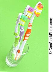 kleurrijke, toothbrushes