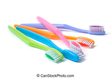 kleurrijke, toothbrushes, vrijstaand, op wit