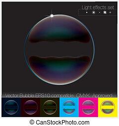 kleurrijke, transparant, zeepbel, set