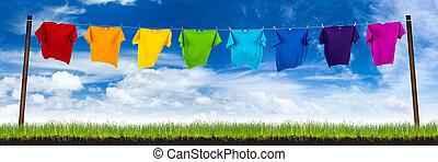 kleurrijke, tshirts, op, was, lin