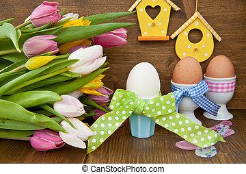 kleurrijke, tulpen, en, paaseitjes