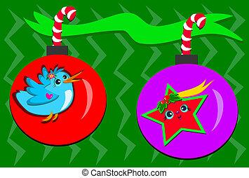 kleurrijke, twee, versieringen, kerstmis