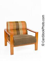 kleurrijke, upholstery, houten leunstoel, op wit,...