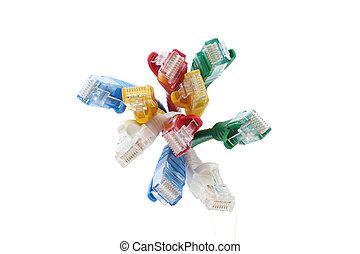 kleurrijke, utp, ethernet, kabels, lan