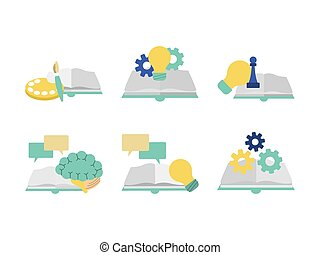 kleurrijke, vaardigheden, set, ontwerp, boekjes , concept, pictogram