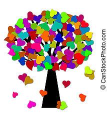 kleurrijke, valentines dag, hartjes, op, boompje, illustratie