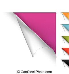 kleurrijke, vector, pagina, gekrulde, hoeken