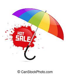 kleurrijke, vector, paraplu, illustratie, met, warme, verkoop, gespetter