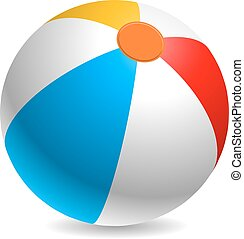 kleurrijke, vector, strand, illustration., bal
