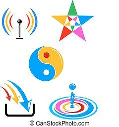 kleurrijke, vector, symbolen