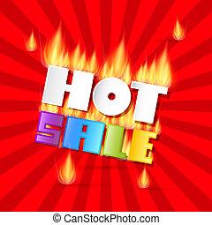 kleurrijke, vector, warme, verkoop, titel, in, vlammen, op, rood, retro, achtergrond