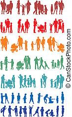 kleurrijke, (vectors), silhouetted, gezin