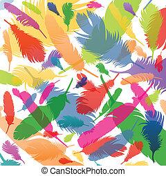 kleurrijke, veertjes, achtergrond, illustratie, vogel
