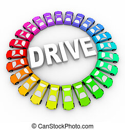 kleurrijke, velen, -, besturen, auto's, cirkel
