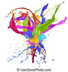 kleurrijke, verf , het bespaten