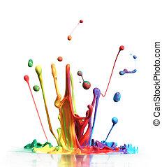 kleurrijke, verf , het bespaten, vrijstaand, op wit