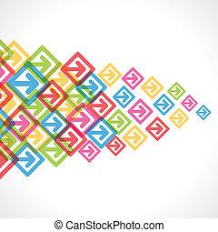 kleurrijke, verhuizen, achterpijl, voorwaarts, of
