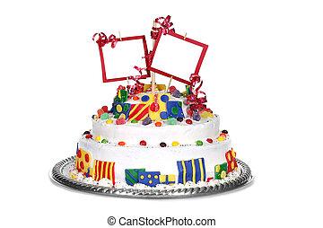 kleurrijke, verjaardagstaart, met, lege ruimte, voor, jouw, boodschap