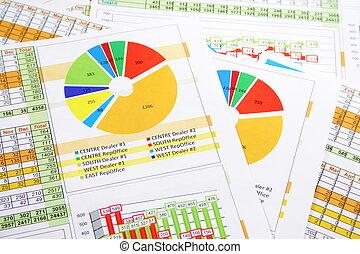 kleurrijke, verkopen melding, in, cijfers, grafieken, en, diagrammen