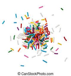 kleurrijke, versuikeren, bestrooit, vrijstaand, op wit,...