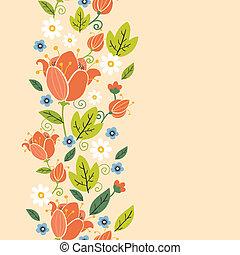 kleurrijke, verticaal, lente, tulpen, seamless, model, grens