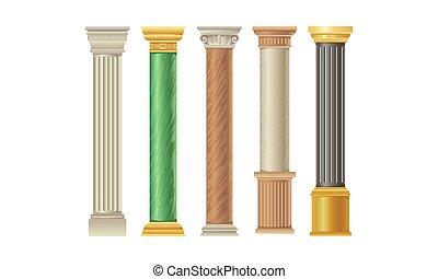 kleurrijke, vijf, kolommen, vector, types, illustratie, set