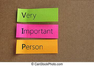 kleurrijke, (vip), zeer, tekst, opmerkingen, kleverig, persoon, belangrijk