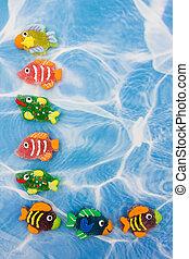 kleurrijke, visje, grens