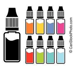 kleurrijke, vloeistof, stellen