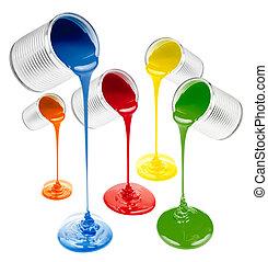 kleurrijke, vloeistof, verven, geregen, uit, vrijstaand