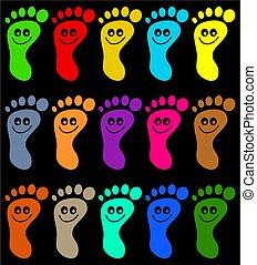 kleurrijke, voetjes