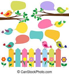 kleurrijke, vogels, met, bellen, voor, toespraak