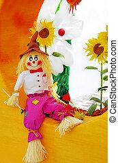 kleurrijke, vogelverschrikker, op, tuin, van, fantasie