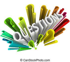 kleurrijke, vraag, -, symbolen, tekens, 3d